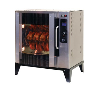 BKI VGG-5-C-PT 2203 1-Deck Pass-Thru Rotisserie Oven, (20) 3-lb Bird Capacity, Curved Glass, 220/3 V