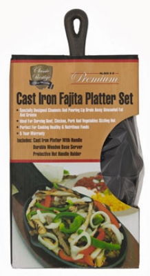 Chef Master / Mr. Bar B Q 06108P (4) Fajita Platter Sets: Wood Server, Cast Iron Sizzler, Handle Mitt