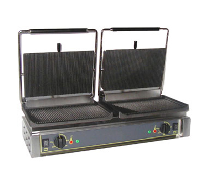 Equipex DIABLO G Double Panini Grill w/ Grooved Top & Bottom, (2) 14 x 9.5-in, 208/240 V