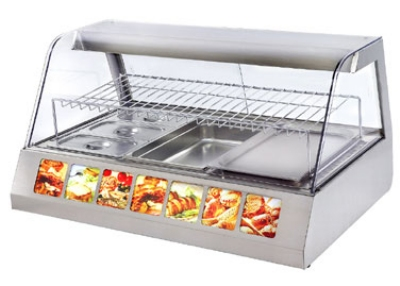 Equipex HOT 300 Curve Front Glass Heated Display Case w/ (3) 12 x 20 x 2.5-in, 120 V