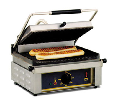Equipex PANINI G Panini Grill w/ Groove Top & Bottom, Cast Iron, 14 x 9.5-in, 208/240 V