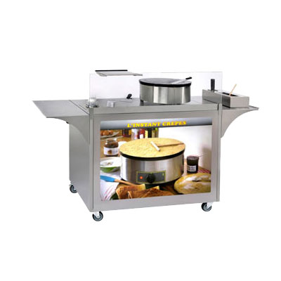 "Equipex MC-O4 Mobile Crepe Cart - 32-1/2x39x24"" Stain"