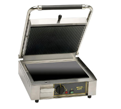 Equipex PANINIVC GS Heavy Duty Panini Grill - Grooved Top & Smooth Bottom, 120v