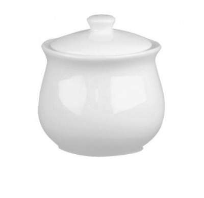 Mayfair 085 3-in Porcelain Sugar Pot w/ Lid, White
