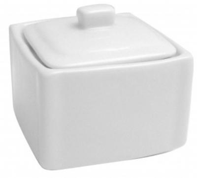 Mayfair 086 Square Porcelain Sugar Pot w/ Lid, 3.25 x 3.25 x 3-in, White