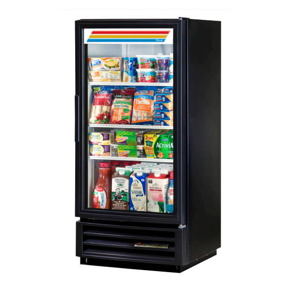 "True GDM-10-LD 25"" Refrigerated Merchandiser - 1-Door, 3-Shelf, LED, 10 cu ft, Black"