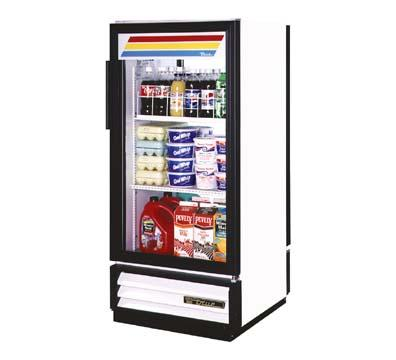 "True GDM-10PT-LD 25"" Pass-Thru Refrigerated Merchandiser - 2-Door, 3-Shelf, LED, 10 cu ft, Black"