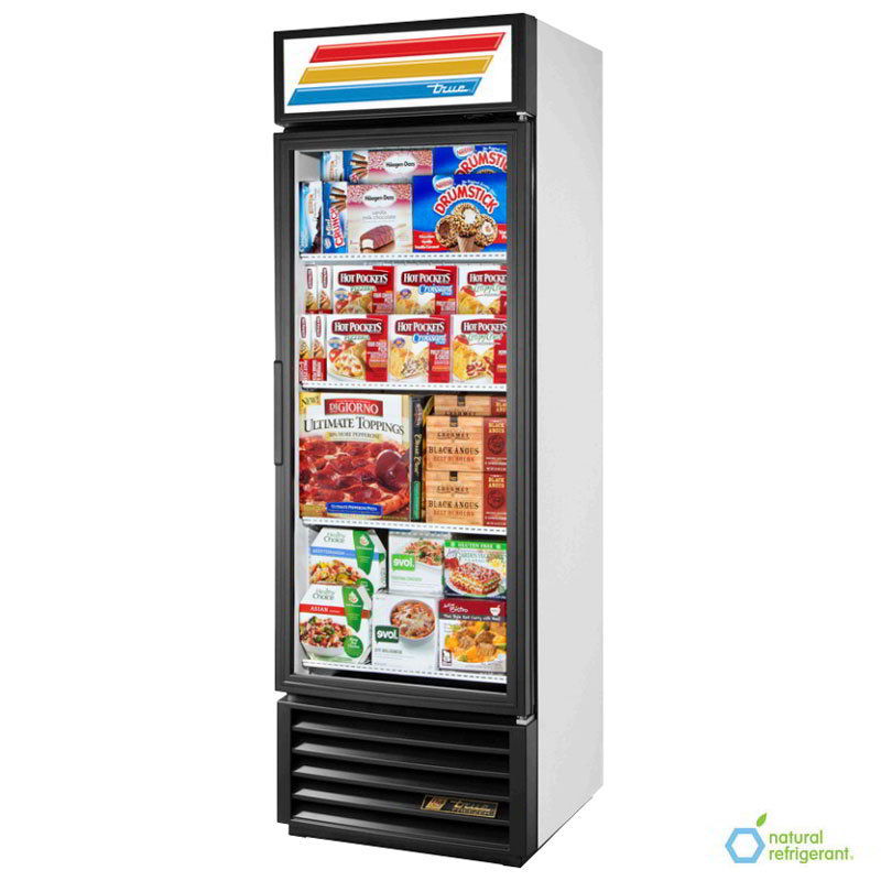 "True GDM-19T-LD 27"" Refrigerated Merchandiser - 1-Door, 4-Shelf, 19 cu ft, LED, Black"