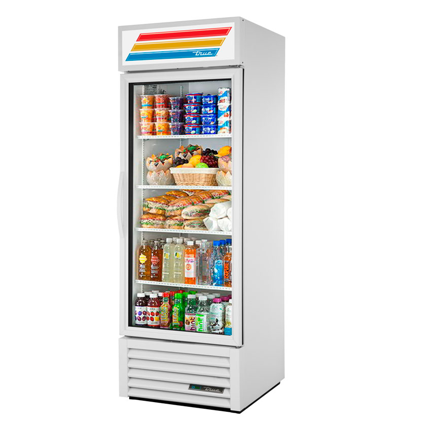 "True GDM-23-LD 27"" Refrigerated Merchandiser - 1-Left Hinged Door, 4-Shelf, LED, 23 cu ft, White"