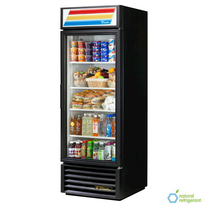 "True GDM-23-LD 27"" Refrigerated Merchandiser - 1-Door, 4-Shelf, 23 cu ft, LED, Black"
