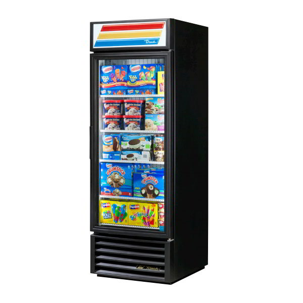 "True GDM-23F-LD 27"" Freezer Merchandiser - 1-Left Hinged Door, 4-Shelf, LED, 23 cu ft, Black"
