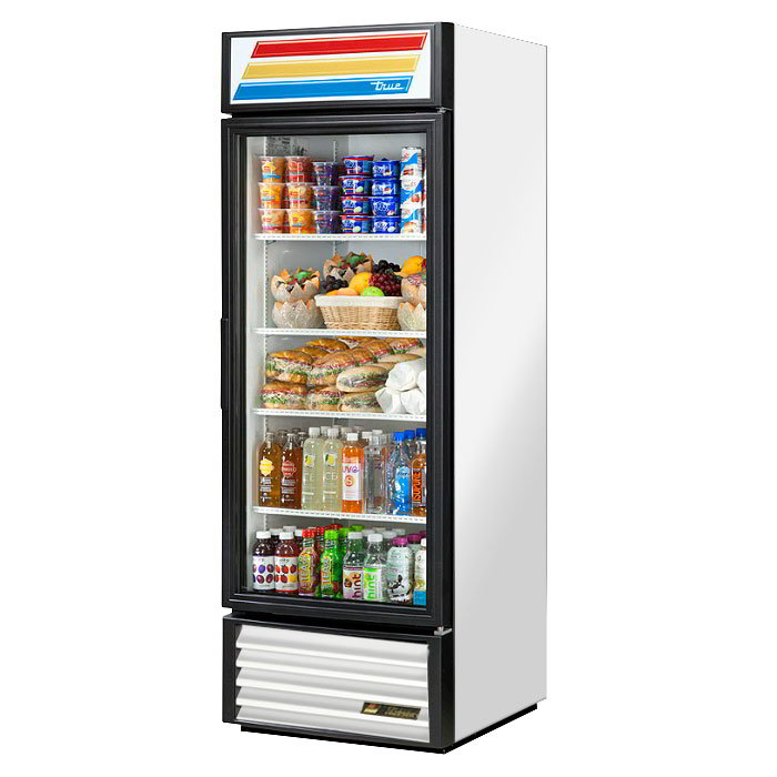 "True GDM-23-LD 27"" Refrigerated Merchandiser - 1-Door, 4-Shelf, LED, 23 cu ft, Stainless"