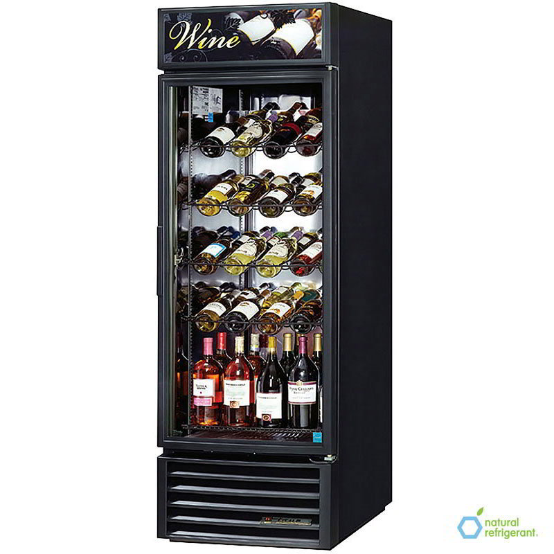 "True GDM-23W-LD 27"" Wine Merchandiser - 1-Door, 4-Racks, 1-Shelf, LED, 23 cu ft, Black"