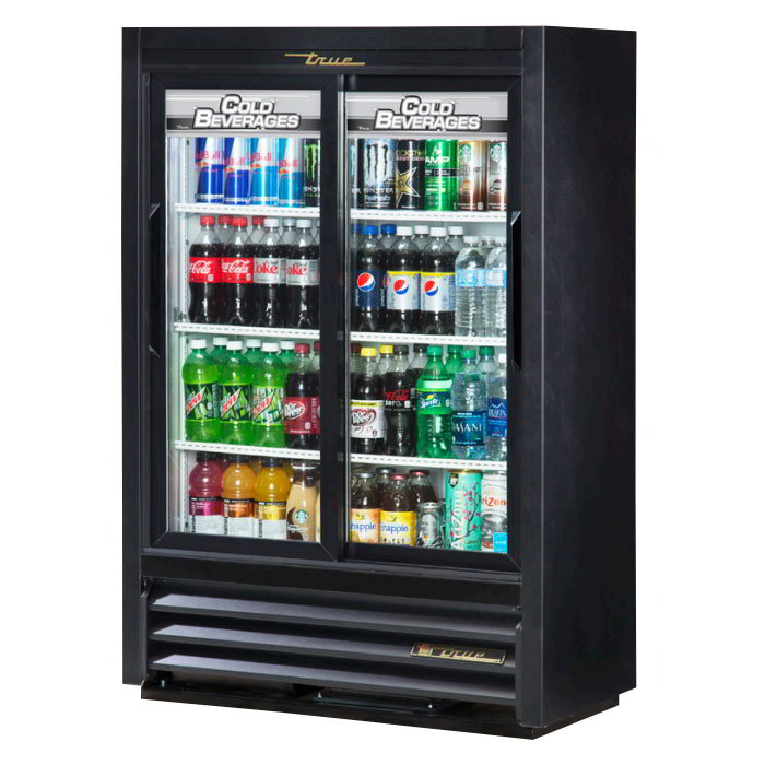 "True GDM-33SSL-54-LD 36"" Super Slim Line Display Cooler - 2-Door, 3-Shelf, 54"" H, LED, Black"