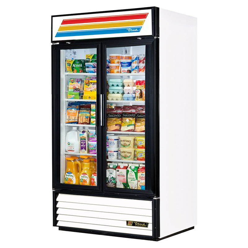 "True GDM-35-LD 39.5"" Refrigerated Merchandiser - 2-Door, 8-Shelf, LED, 35 cu ft, Black"