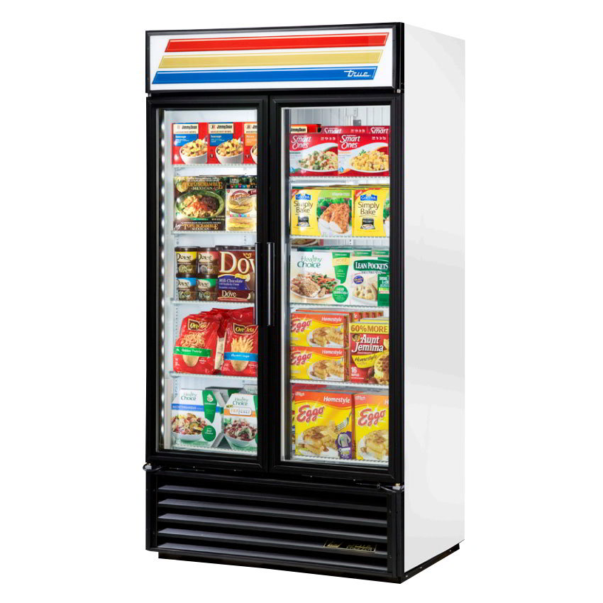 "True GDM-35F-LD 39.5"" Freezer Merchandiser - 2-Door, 8-Shelf, LED, 35 cu ft, Black"