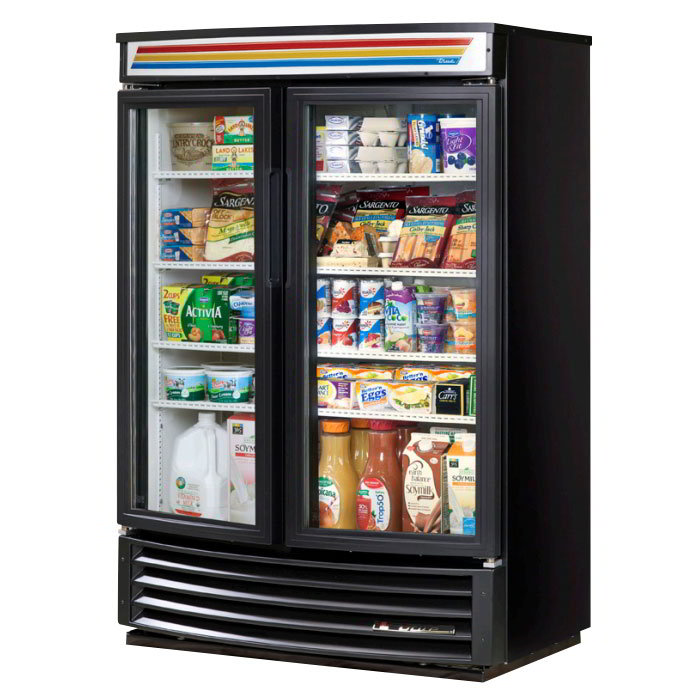 "True GDM-35SL-RF-LD 40"" Slim Line Radius Front Merchandiser - 2-Door, 4-Shelf, 35 cu ft, LED, Black"