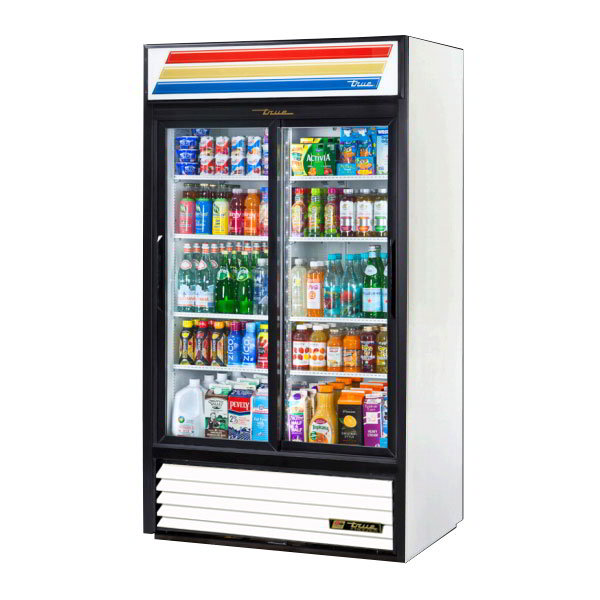 "True GDM-37-LD 43.5"" Refrigerated Merchandiser - 2-Door, 8-Shelf, LED, 37 cu ft, Black"