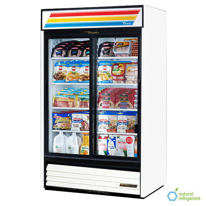 "True GDM-41-LD 48"" Refrigerated Merchandiser - 2-Door, 8-Shelf, LED, 41 cu ft, Black"