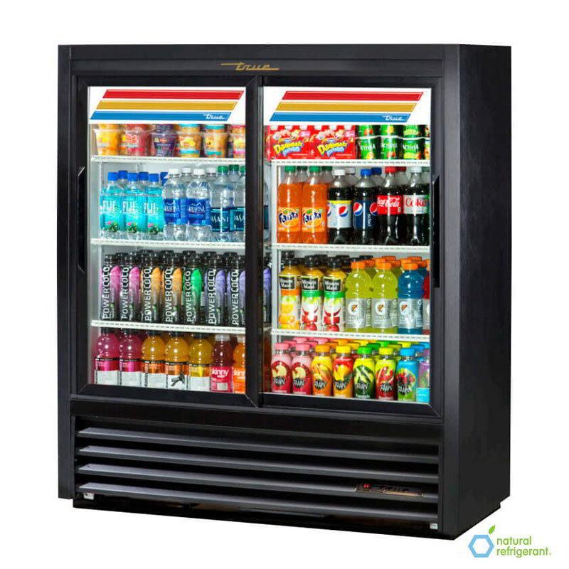 "True GDM-41SL-54-LD 47.13"" Two-Section Refrigerated Display w/ Sliding Doors, Bottom Mount Compressor, 115v"