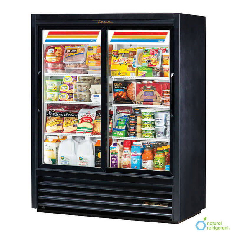 "True GDM-41SL-60-LD 48"" Slim Line Convenience Store Cooler - 2-Door, 6-Shelf, 60"" H, LED, Black"