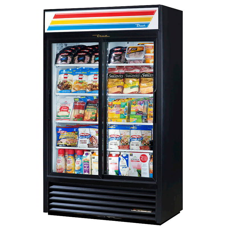 "True GDM-41SL-LD 48"" Slim Line Refrigerated Merchandiser - 2-Door, 8-Shelf, 41 cu ft, LED, Black"