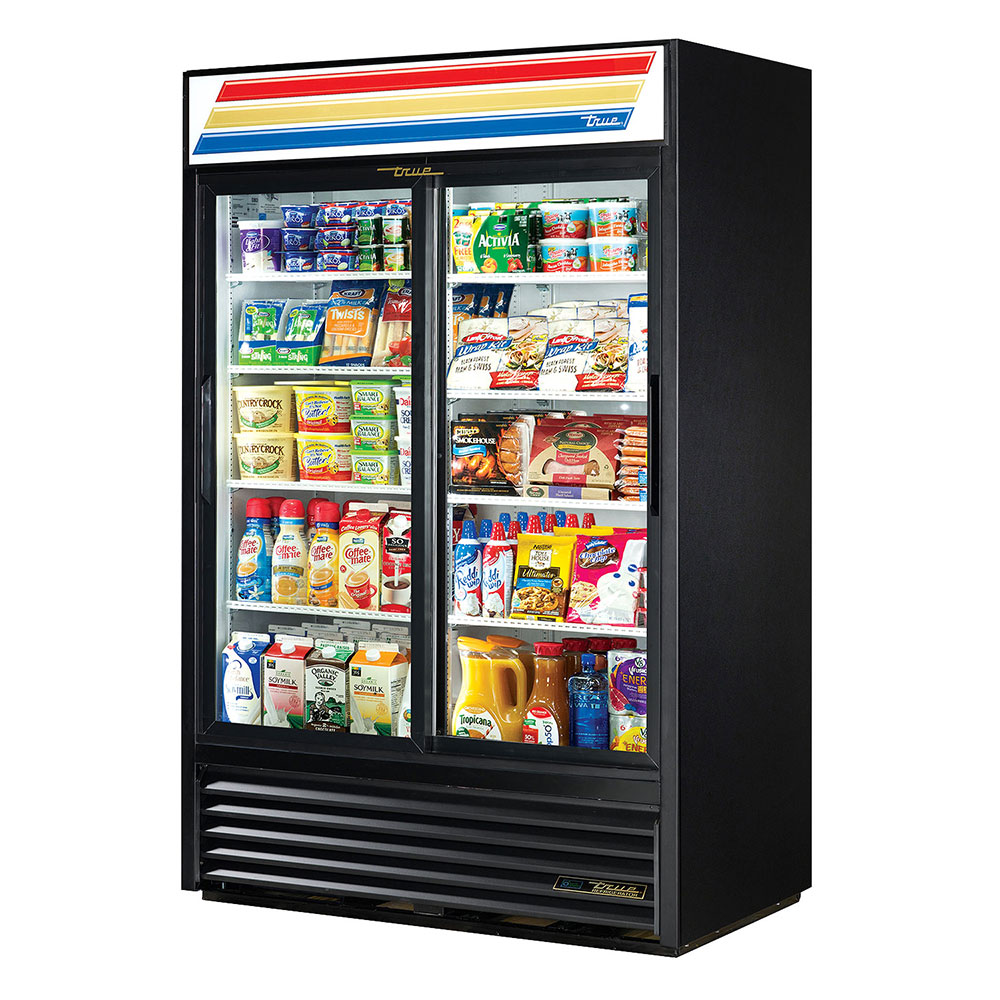 "True GDM-45-LD 52"" Refrigerated Merchandiser - 2-Door, 8-Shelf, LED, 45 cu ft, Black"