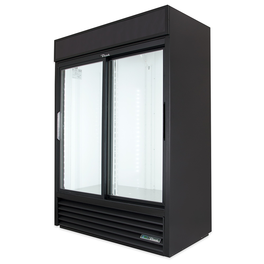 "True GDM-47-LD 52"" Refrigerated Merchandiser - 2-Door, 8-Shelf, LED, 47 cu ft, Black"