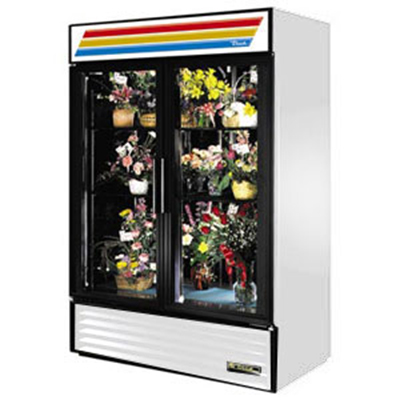 "True GDM-47FC-LD 55"" Floral Merchandiser - 2-Door, 4-Shelf, 47 cu ft, LED, White"