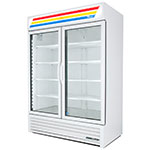 "True GDM-49-LD 55"" Refrigerated Merchandiser - 2-Door, 8-Shelf, LED, 49 cu ft, Black"