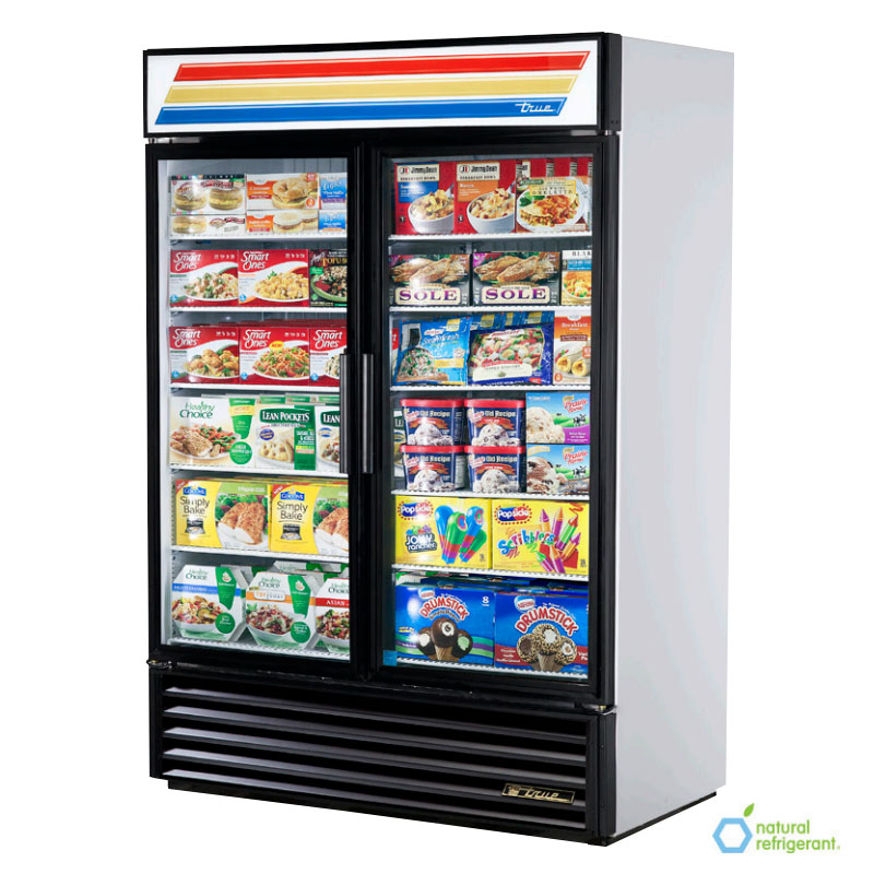 "True GDM-49F-LD 55"" Freezer Merchandiser - 2-Door, 8-Shelf, LED, 49 cu ft, Black"