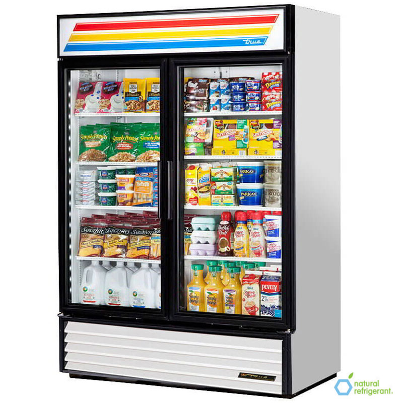 "True GDM-49-LD 55"" Refrigerated Merchandiser - 2-Door, 8-Shelf, 49 cu ft, LED, Stainless"