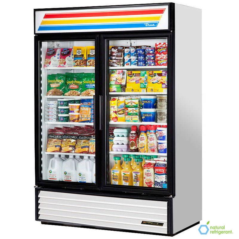 "True GDM-49-LD 55"" Refrigerated Merchandiser - 2-Door, 8-Shelf, 49 cu ft, LED, Stainless"