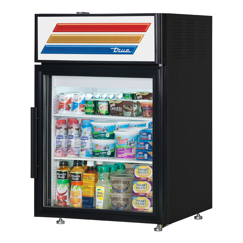"True GDM-5-LD 24"" Countertop Refrigerated Merchandiser - 1-Door, 2-Shelf, 5 cu ft, LED, Black"