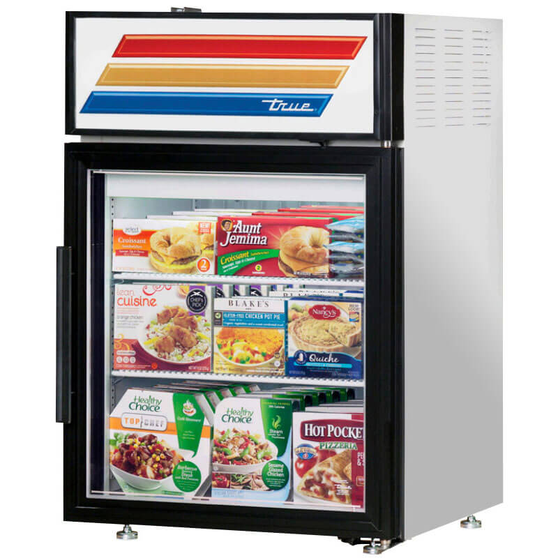 "True GDM-5F-LD 24"" Countertop Freezer Merchandiser - 1-Door, 2-Shelf, LED, 5 cu ft, Stainless"