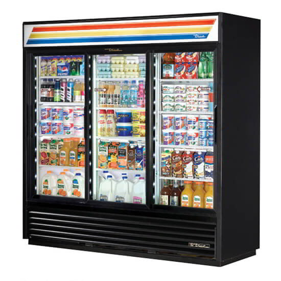 "True GDM-69-LD 80"" Refrigerated Merchandiser - 3-Door, 12-Shelf, LED, 69 cu ft, Black"