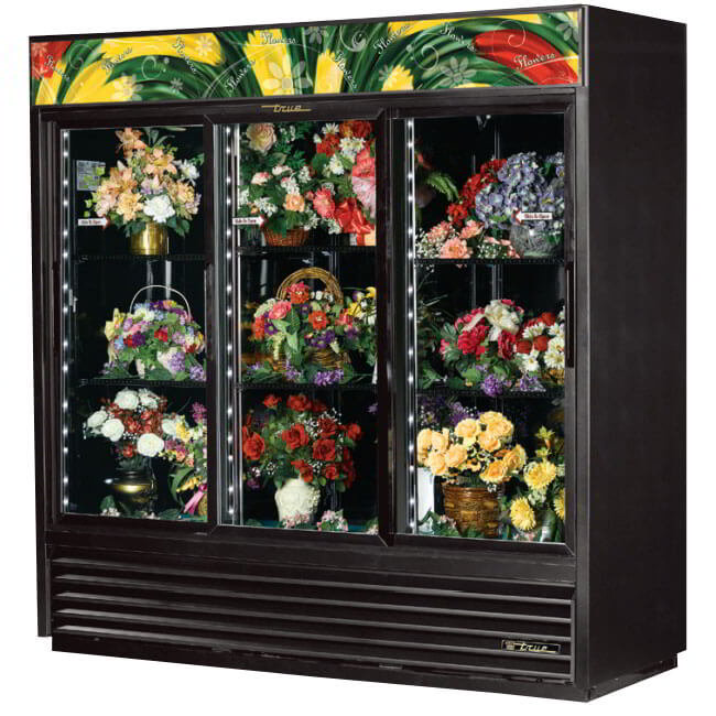 "True GDM-69FC-LD 80"" Floral Merchandiser - 3-Door, 6-Shelf, 69 cu ft, LED, Black"