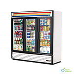 "True GDM-72-LD 80"" Refrigerated Merchandiser - 3-Door, 12-Shelf, LED, 72 cu ft, Black"