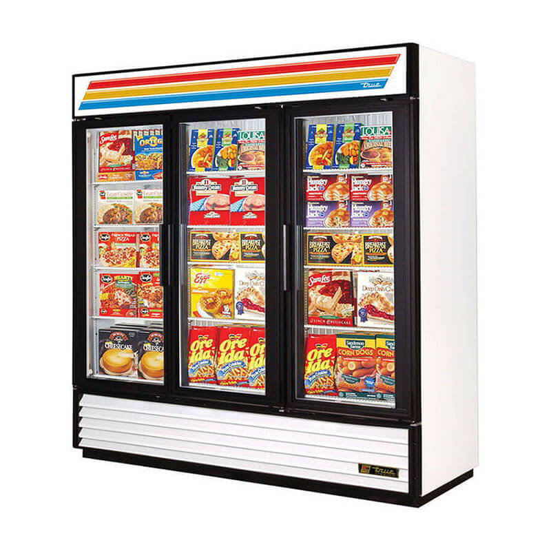 "True GDM-72F-LD 80"" Freezer Merchandiser - 3-Door, 12-Shelf, LED, 72 cu ft, Black"