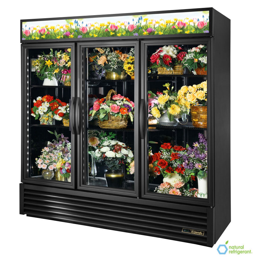 "True GDM-72FC-LD 80"" Floral Merchandiser - 3-Door, 6-Shelf, LED, 72 cu ft, Black"