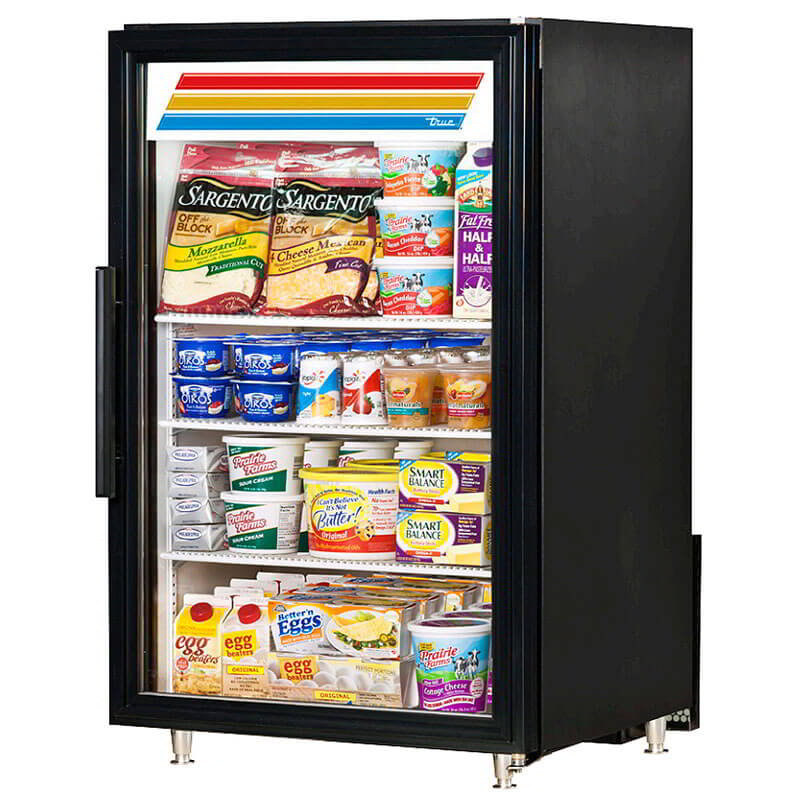 "True GDM-7-LD 24"" Countertop Refrigerated Merchandiser - 1-Door, 3-Shelf, LED, Black"