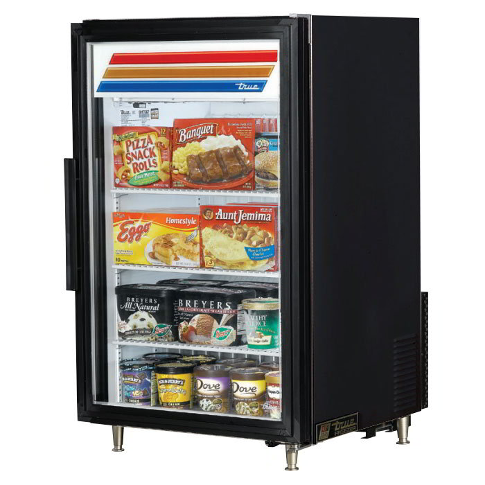 "True GDM-7F-LD 24"" Countertop Freezer Merchandiser - 1-Door, 3-Shelf, LED, Black"