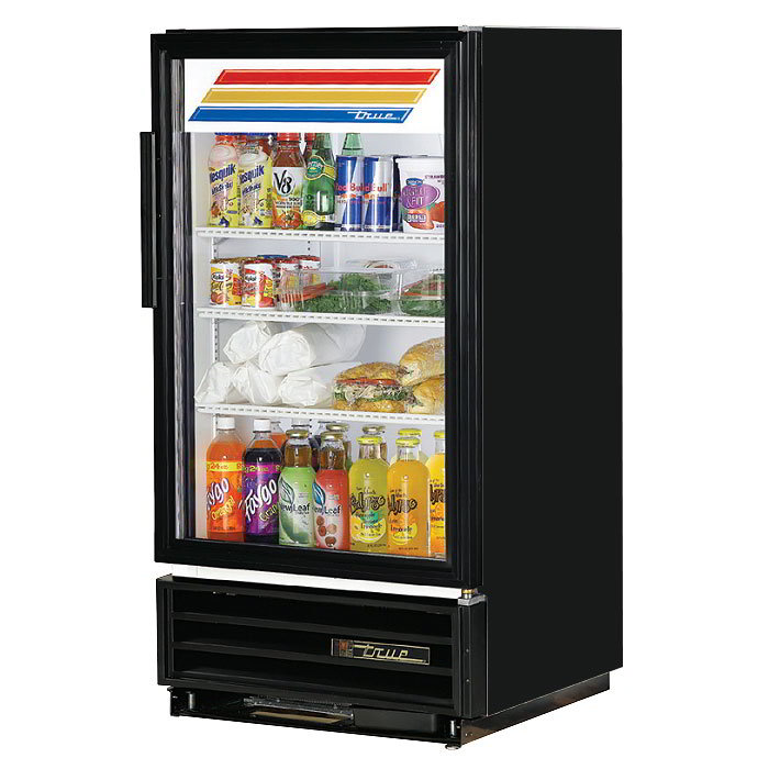 "True GDM-8 BLK 25"" Countertop Refrigerated Merchandiser - LED Light, 1-Door, 3-Shelf, Black"