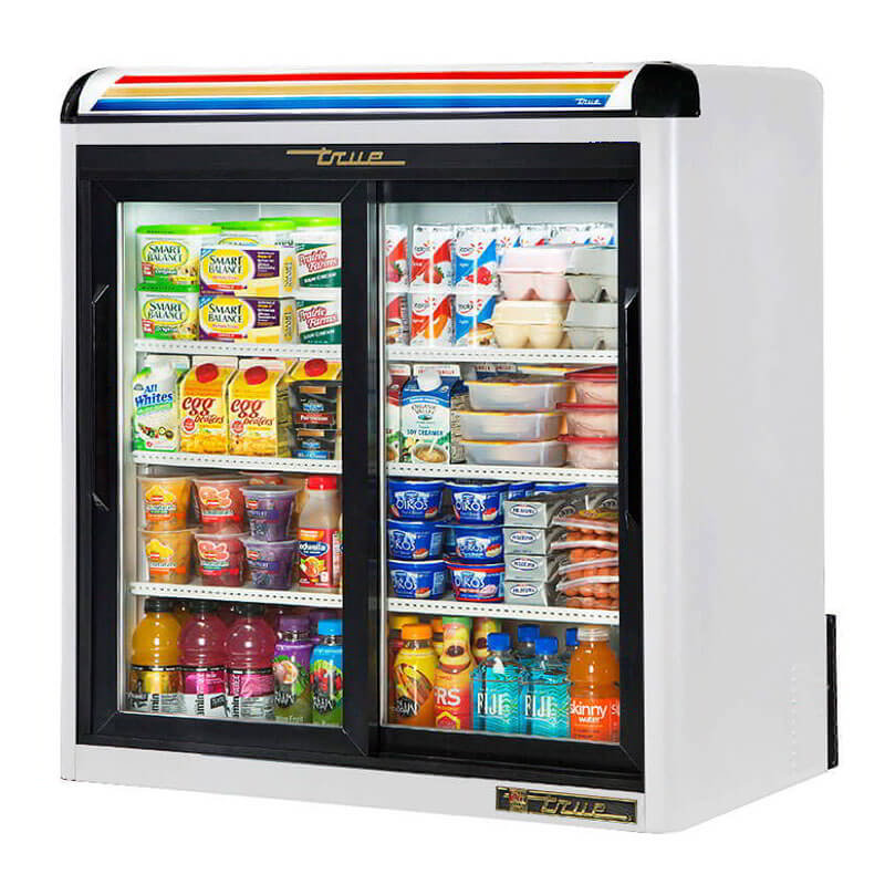"True GDM-9-LD 36.13"" Countertop Refrigeration w/ Front Access - Sliding Door, White, 115v"