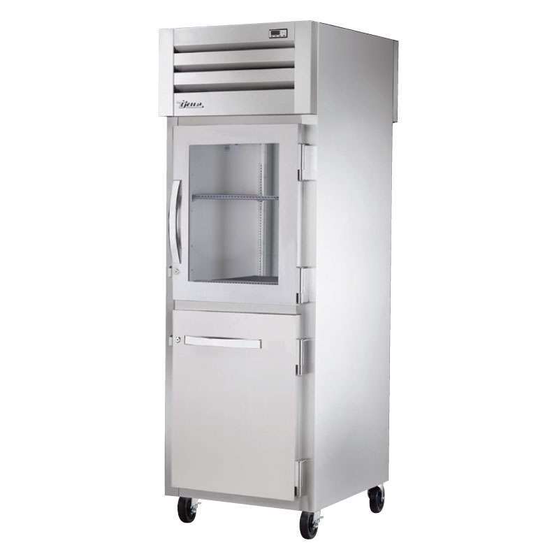 "True STA1RPT-1HG1HS1S 28"" Pass-Thru Refrigerator - 1-Glass Half/1-Solid Half & Full Door, Stainless"