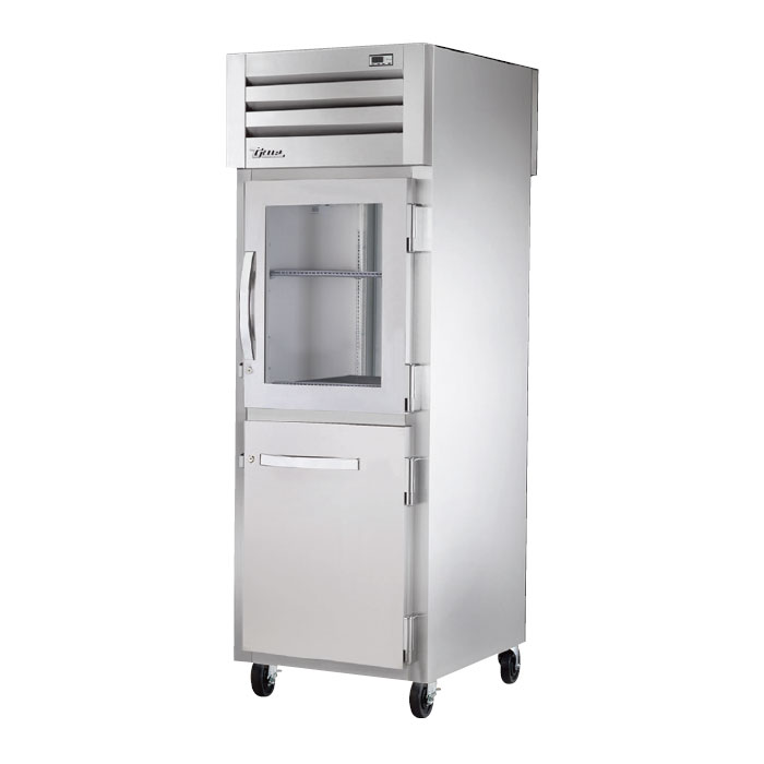 "True STR1R-1HG/1HS 28"" Reach-In Refrigerator - 1-Glass/1-Solid Half Door, LED, All Stainless"