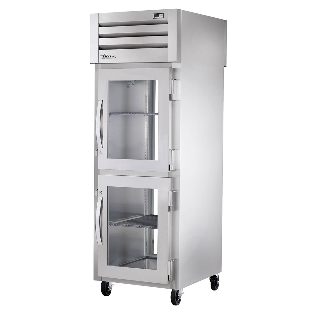 "True STR1R-2HG 27.5"" One Section Reach-In Refrigerator, (2) Glass Door, 115v"