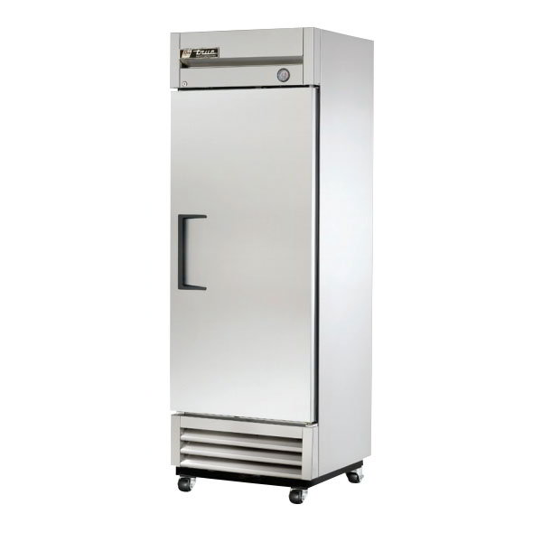 "True T-19 LH 27"" Reach-In Refrigerator - 1-Left Hinged Solid Door, Shallow, Stainless/Aluminum"