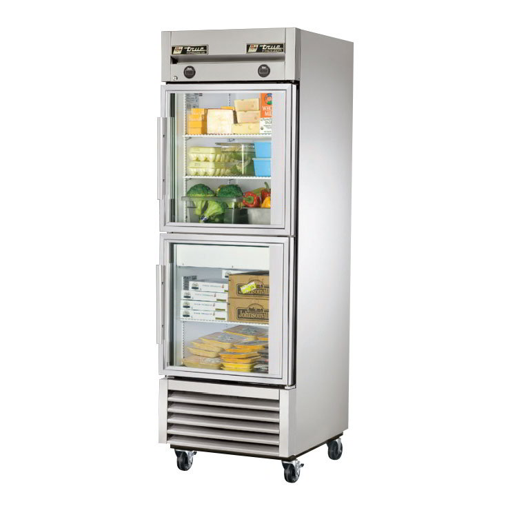 "True T-23DT-G 27"" Reach-In Refrigerator/Freezer - 2-Glass Doors, Stainless/Aluminum"