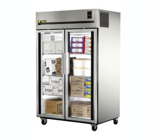 True TA2F-2G Freezer, Reach-In, 2 Section/Glass Doors, 6 Shelves, 56 cu ft